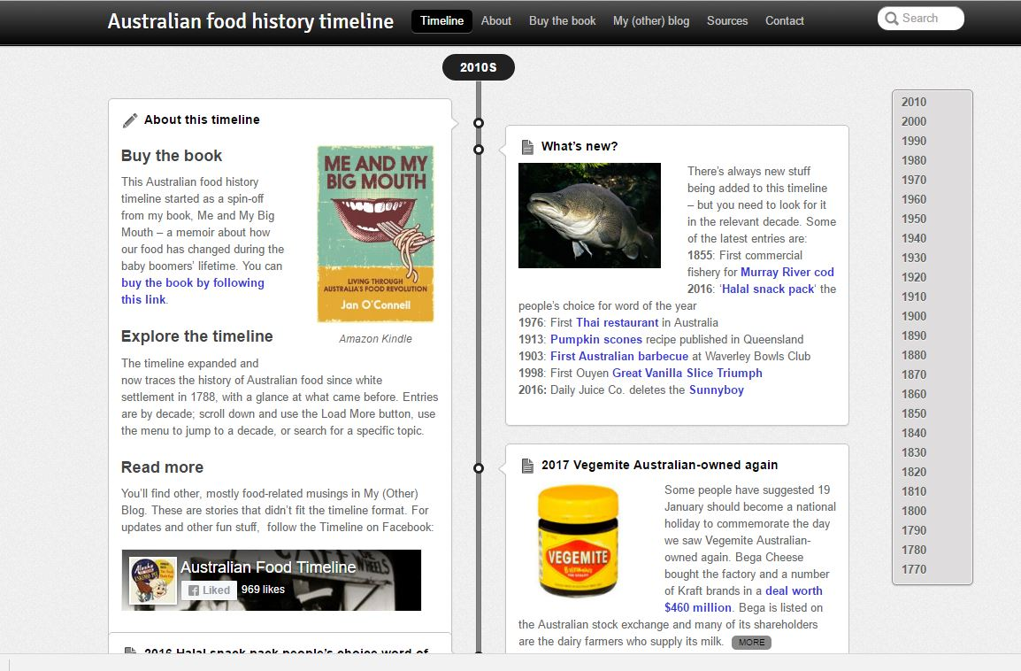 Australian food history timeline for Australian cuisine history