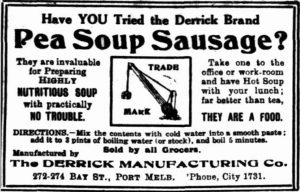 Ad for Derrick Brand Pea Soup Sausage