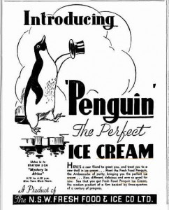 Penguin Ice Cream ad - Sydney Truth 1937