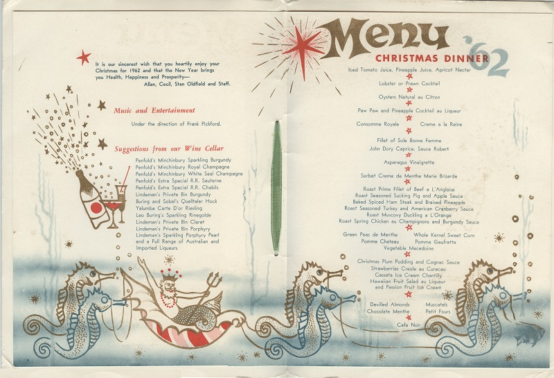 Posh hotels of Bondi - Astra Christmas menu - celebration menus