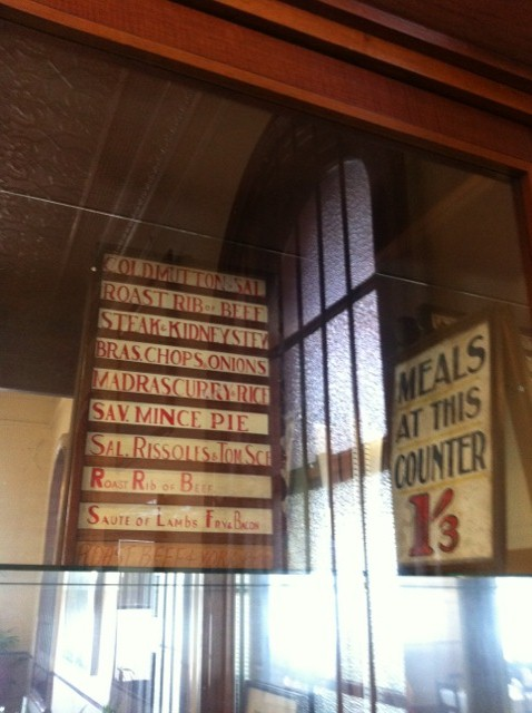 Railway Refreshment Rooms menu