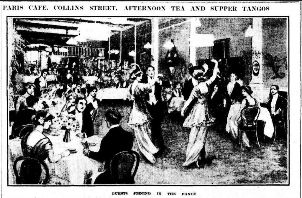 Tango dancers at the Paris Cafe, Collins Street, Melbourne